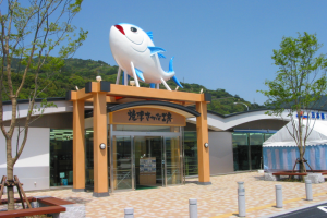 日本坂PA上りにあるやぐらに乗ったさかなのオブジェ「海坊」(しーぼう)が目印です。